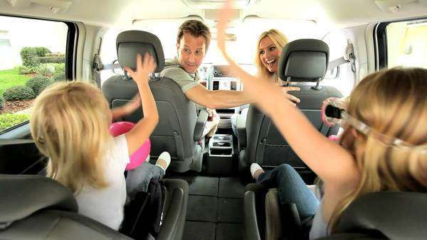 Happy Caucasian family in people carrier car ready for day beach Royalty-free stock video