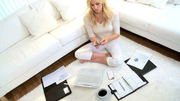 Blonde freelance business advisor working home against the clock contract deadline Royalty-free stock video
