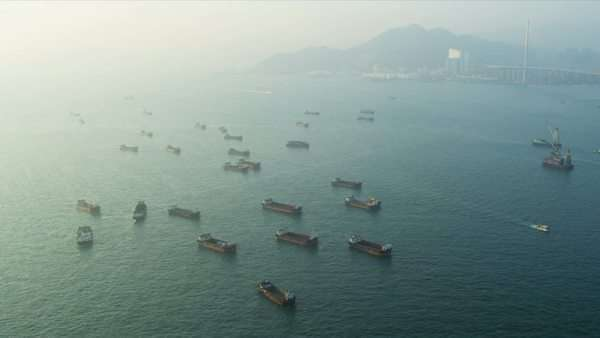 Aerial view of nautical vessels outside Hong Kong harbour, South China Sea, Asia, RED EPIC Royalty-free stock video