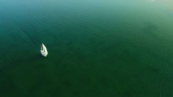 Aerial view ocean going yacht Southern Florida Biscayne Bay, Florida, USA, RED EPIC Royalty-free stock video