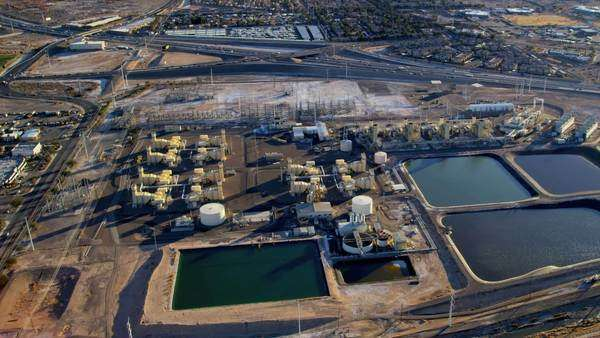 Aerial view industrial plant metropolitan residential area, Las Vegas, Nevada, USA, RED EPIC Royalty-free stock video