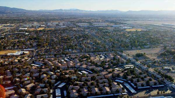 Aerial landscape view metropolitan suburban homes and property, Las Vegas, Nevada, USA, RED EPIC Royalty-free stock video