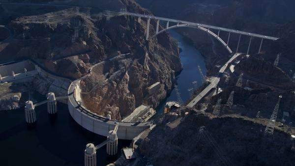 Aerial view Hoover Dam Bypass Project on US 93 and Colorado River Bridge, Nevada, USA, RED EPIC Royalty-free stock video