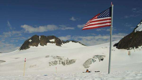 Stars And Stripes Flying High Arctic Circle Snow Covered Remote - Usa northern hemisphere