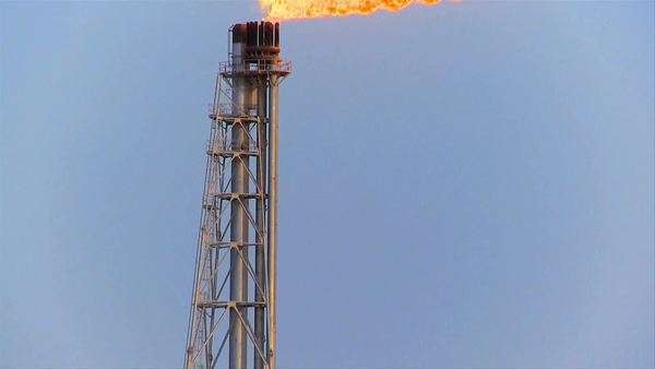 Excess gas being burned off at energy production plant Royalty-free stock video
