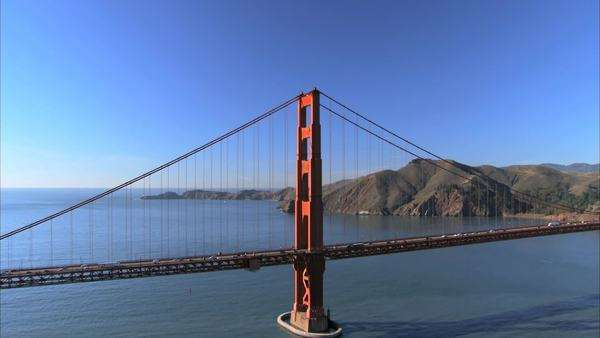 Aerial view flying over  Golden Gate Bridge, San Francisco, USA Royalty-free stock video