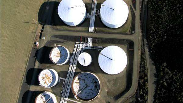 Aerial view of  oil refinery storage tanks Royalty-free stock video