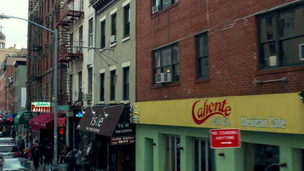 Shops and restaurants on a street in Manhattan. Royalty-free stock video