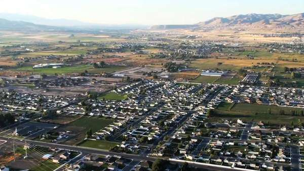 Aerial shot of Lehi, Utah city. Filmed during the day. Royalty-free stock video