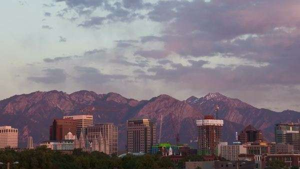 Timelapse of the Salt Lake City skyline as the sun sets Royalty-free stock video