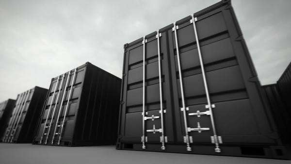 Picture of black containers in a row Royalty-free stock video