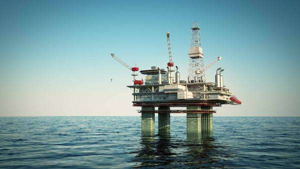 Oil platform on the sea Royalty-free stock video