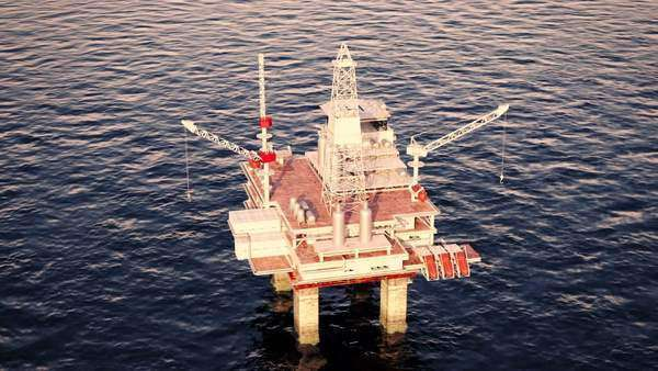 Oil platform on the sea is offshore structure Royalty-free stock video