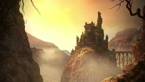 This animation shows a long shot of fantasy castle standing on a hill Royalty-free stock video