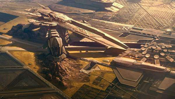 Matte painting of futuristic military base Royalty-free stock video