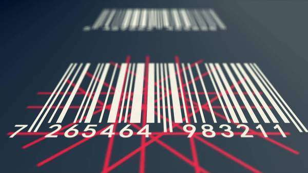 Loopable animation illustrates an array of EAN barcodes being scanned by barcode scanner on a dark background Royalty-free stock video