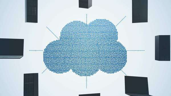 The Cloud created of blue pixels is connected to a circle of computers and servers Royalty-free stock video