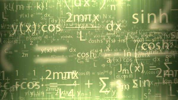 Animation presents mathematical formulas shining gold on the green background Royalty-free stock video