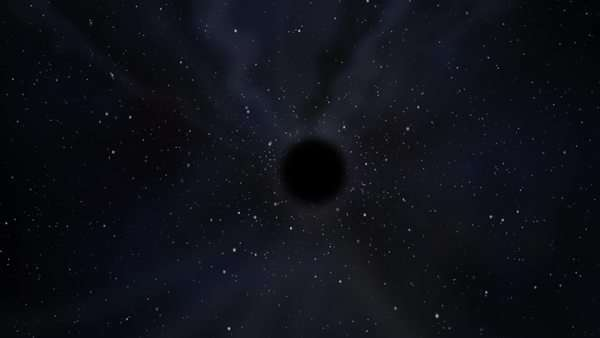 Graphic simulated view of a black hole in the middle of the outer space, with stars and diffuse rays of light Royalty-free stock video