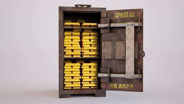 Gold bullion bars stacked tightly in an old safe with its door standing wide open in a conceptual image of finances and wealth Royalty-free stock video