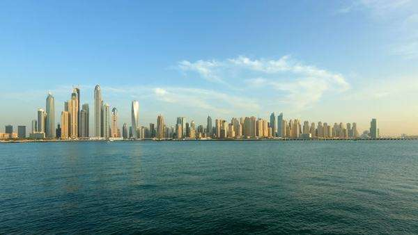 Timelapse shot of Dubai marina skyline, Unite Arab Emirates Royalty-free stock video