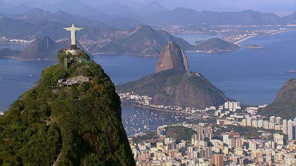 Aerial view of Christ the Redeemer and Sugarloaf,  Rio de Janeiro, Brazil Royalty-free stock video