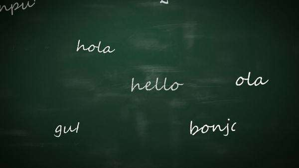 Language learning concept with a class blackboard covered in colorful text depicting the word - Hello - in multiple different international languages with random orientation Royalty-free stock video
