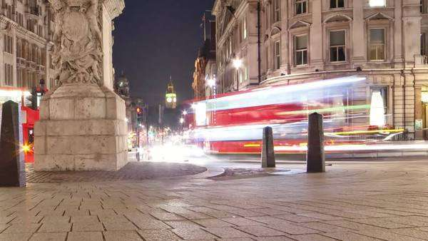 Slider timelapse of Big Ben seen from Charing Cross, looking down Whitehall. The equestrian statue of King Charles I is also seen. Filmed at night in London in October 2011. Cropped. Royalty-free stock video