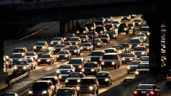 Environmental pollution from nightly rush-hour traffic fuel emissions. Royalty-free stock video