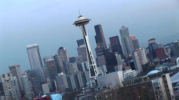 Angled aerial view of Seattle's landmark Space Needle and other downtown skyscrapers. Royalty-free stock video