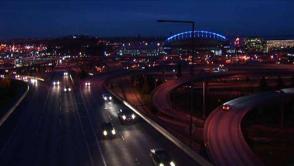 Traffic drives on Seattle's freeways. Royalty-free stock video