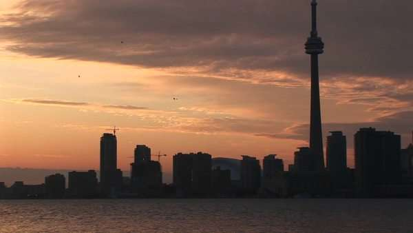 The CN Tower stands among the other buildings in the Toronto skyline. Royalty-free stock video
