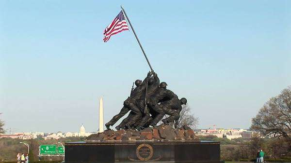 The camera slowly pans up the Iwo Jima Marine Corps Memorial. Royalty-free stock video