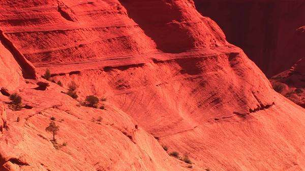 Medium shot of sandstone cliffs in Canyon De Chelly National Monument. Royalty-free stock video