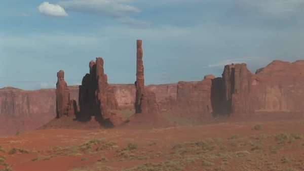 Long shot of the totem pole rock formations in monument valley tribal park in Arizona. Royalty-free stock video