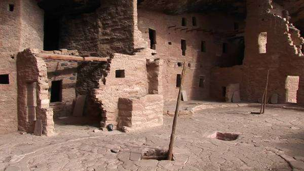 Medium-shot of the ruins of Native American cliff dwellings in Mesa Verde National Park. Royalty-free stock video