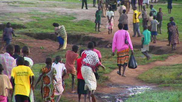 African children run along a path. Royalty-free stock video