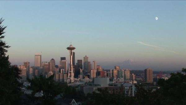 The Space Needle rises above other skyscrapers in Seattle, Washington. Royalty-free stock video