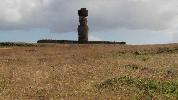 Wind blows across the grass in this lonely Easter Island scene. Royalty-free stock video