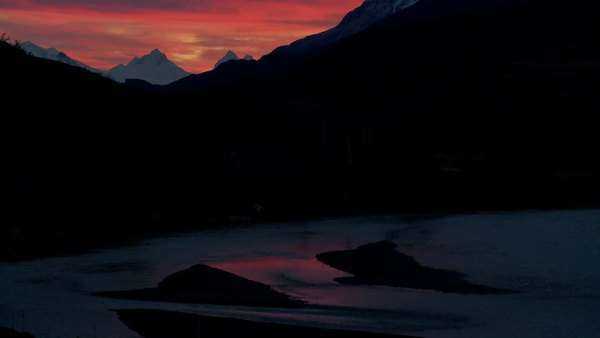 A beautiful deep sunset behind mountains in far Southern Argentina, Torres Del Paine, Patagonia. Royalty-free stock video