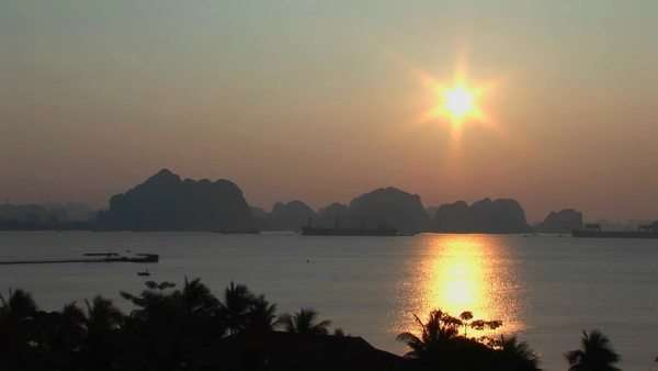 A beautiful sunset over the Mekong River in Vietnam. Royalty-free stock video