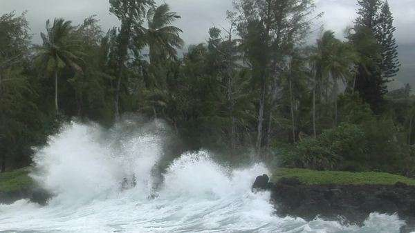 A large Pacific storm batters a tropical island with large waves. Royalty-free stock video