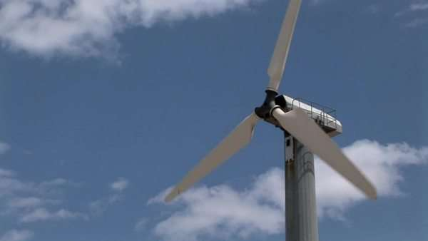 A wind turbine generates electricity. Royalty-free stock video