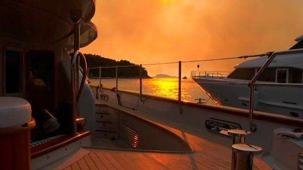 Croatian sunset from the aft deck of sailboat. Royalty-free stock video