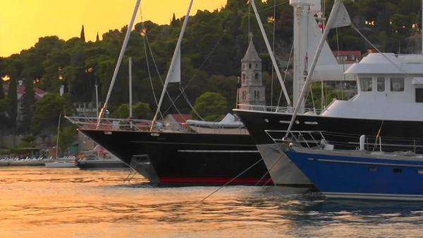 Croatian sunset with the view of ship's bows. Royalty-free stock video