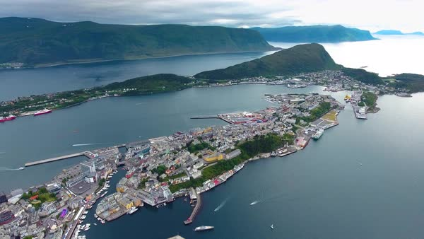 Aksla at the city of Alesund , Norway Aerial footage Royalty-free stock video