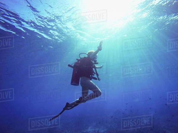 Scuba diver underwater Royalty-free stock photo