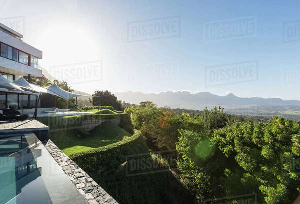 Modern luxury home showcase exterior and swimming pool with sunny mountain view Royalty-free stock photo