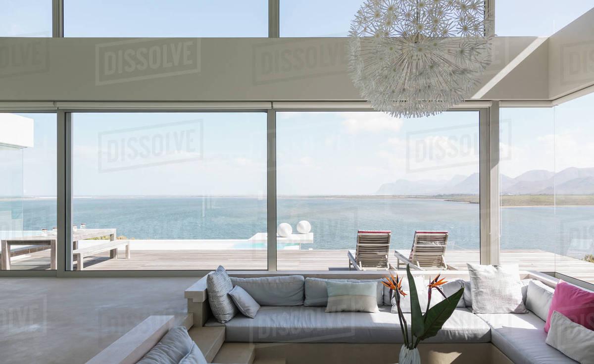 Modern luxury home showcase modern luxury living room with ocean ...