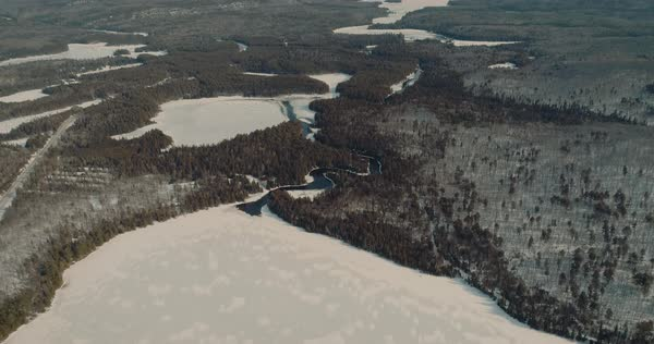 Aerial Shot of Algonquin Provincial Park , Canada - Rivers and Lakes at winter Royalty-free stock video